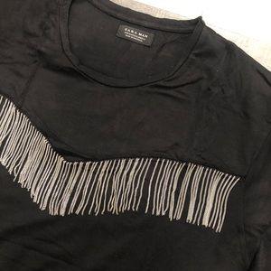 Zara silver metal tassel t-shirt